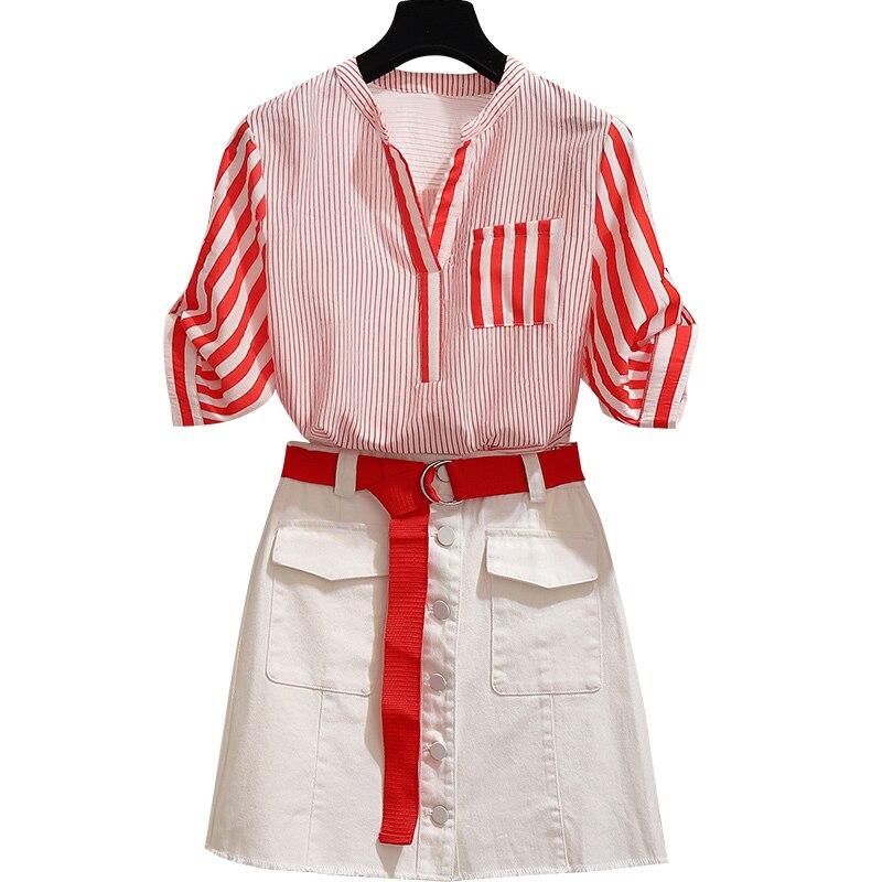 Deux-pièces mode française femmes été nouvelle fée web célébrité costume rayure chemise & blanc jupes courtes tenue décontractée vestidos fille