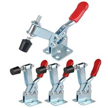 4Pcs Hand Tool Toggle Clamp 201B Antislip Red Horizontal Clamp 201-B Quick Release Tool metal horizontal quick release hand tool toggle clamp for fixing workpiece 60 lbs antislip covered hand tool toggle clamp
