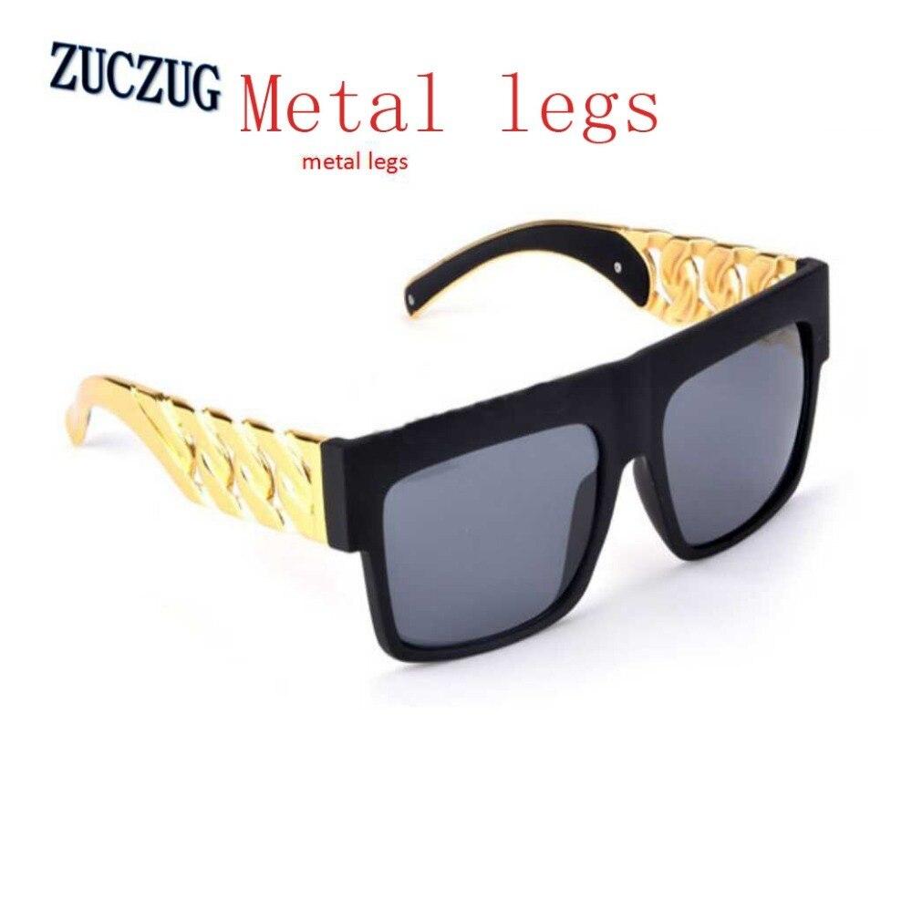 Merk Designer Metalen Benen Goud Kleur Chain Twisted Fashion Zonnebril Vrouwelijke Oversized Grote Frame Vrouwen/mannen Vintage Zonnebril
