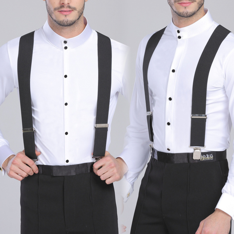 Suspenders Pants Braces-Strap X-Back-Trousers 4-Strong-Clips Heavy-Duty 130cm for Men