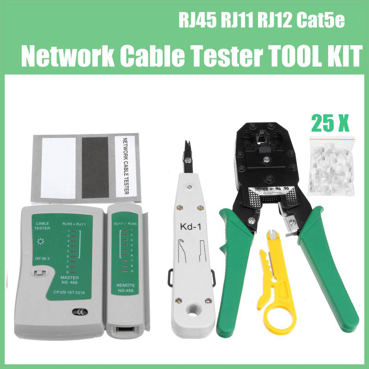 5pcs/Set Network Ethernet Cable Tester RJ45 RJ11 RJ12 Cat5e 6 LAN Data Network Tool Crimper Crimping Punch Down Wire Detector