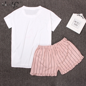 Image 3 - Round Neck Print Cartoon Top And Bow Front Shorts Pajama Set 2018 Woman Short Sleeve White Pink Pajama Set