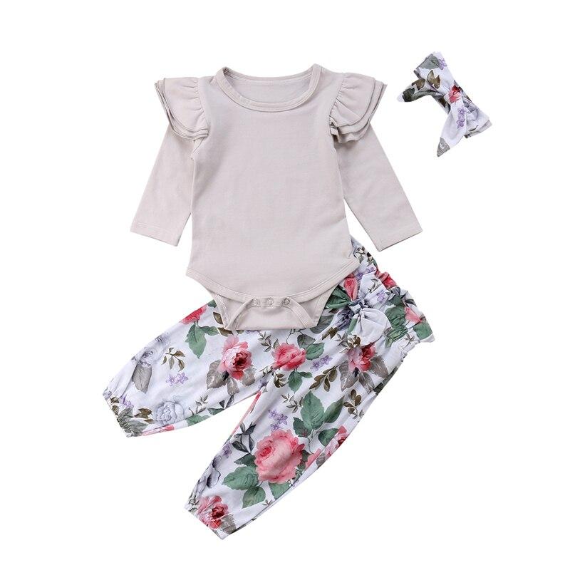 40312f1cd 3 piezas recién nacido Infnt, ropa de bebé niña de manga larga mameluco +  larga