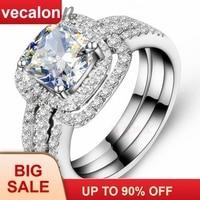 Vecalon модные обручальное кольцо с квадратным камнем 3ct 5A Циркон cz 3 в 1 обручальное кольцо для Для женщин 10KT Белое Золото Заполненные Обручение