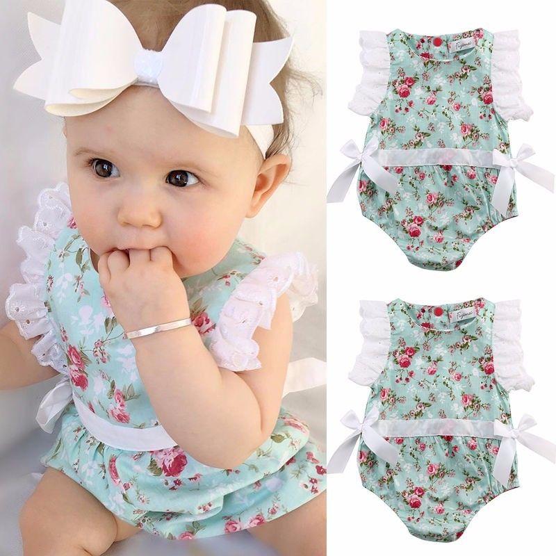 Newborn Infant Baby Girls Cute Pretty Romper Short Petal Sleeve Floral Print Lace Bowknot Summer Jumpsuits Romper