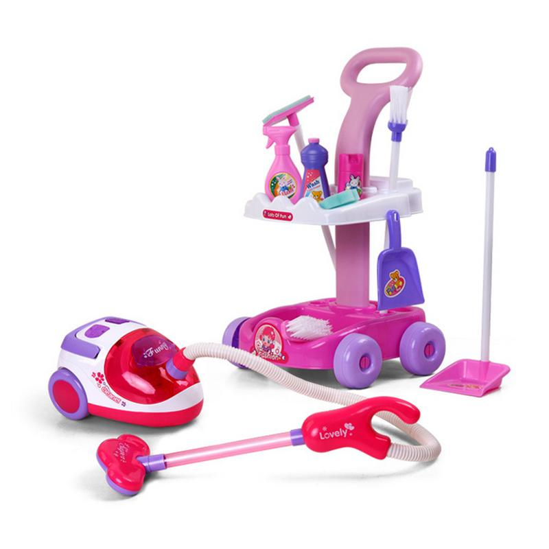 New Arrival Pretend Play Toy Simulation Vacuum Cleaner Cart Cleaning Dust Tools Baby Kids Play House