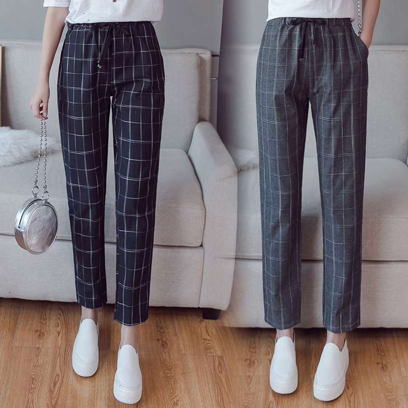 Make English plaid pants female easy to restore ancient ways recreational pants the spring and autumn period and the new female 1