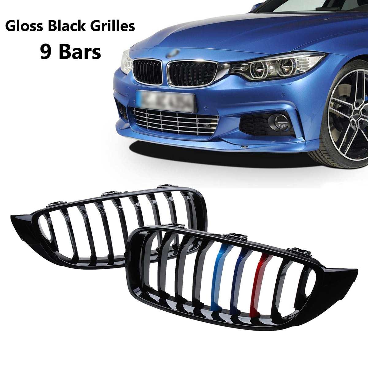 2 pièces Brillant Noir M-couleur Avant Rein Grilles Grilles 9 Bars Pour BMW Série 4 F32 F33 F36 F82