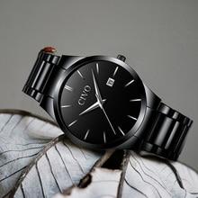 CIVO Mens Quartz Watch Waterproof Date Calendar Stainless Steel Watches For Men Black Wristwatch Gents Clock