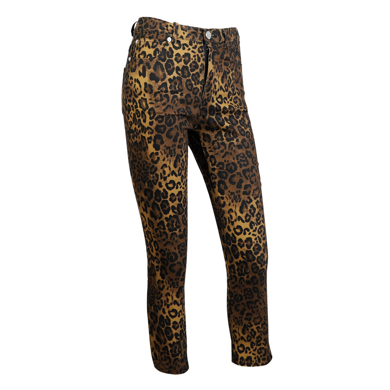 High Print Long Pencil All Waist Match Pants Woman Leopard Women Womens Trousers Printed R341 Slim Leisure w0gxqXcZz