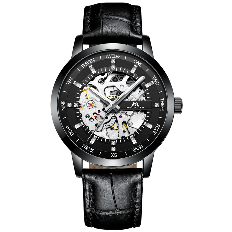 MEGALITH MenS Mechanical Watches Waterproof Black Leather Strap Wrist Watch Skeleton Automatic Watch Men Clock Kol SaatMEGALITH MenS Mechanical Watches Waterproof Black Leather Strap Wrist Watch Skeleton Automatic Watch Men Clock Kol Saat