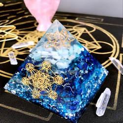 Аурарейки оргонит Пирамида Вишудха/Аджна Чакра Jeremiel Амазонит Аметист натуральный кристалл улучшает мудрость приносящий удачу Пирамида