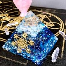 AURA Orgonit Piramidi Vishuddha/Ajna Çakra Jeremiel Amazonit Ametist Doğal Kristal Geliştirir Bilgelik Getirmek Şanslı Piramit