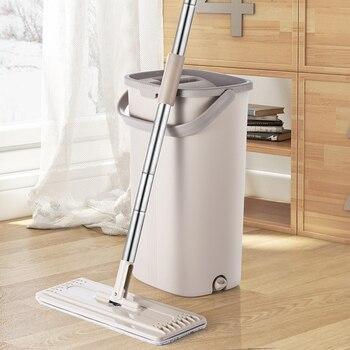 ممسحة ناعمة سحرية ودلو يد حرة 360 درجة رأس التنظيف الذاتي رائعة للتنظيف الرطب والجاف آمنة على جميع الأسطح التنظيف