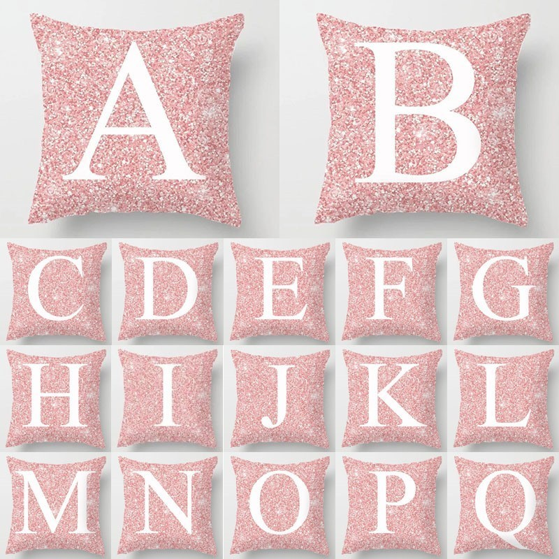 1Pcs Pink Letter Decoration Cushion Cover Polyester Throw Pillowcase English Alphabet Home Decorative Pillow Cover 45*45cm 40811