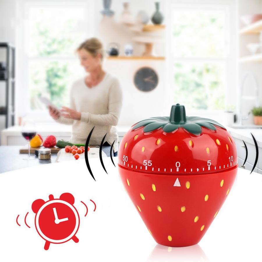 Creative Strawberry Shaped 60 Minutes Kitchen Timer Mechanical Time Reminder Countdown Lovely Fruit Red Kitchen Timer Tools