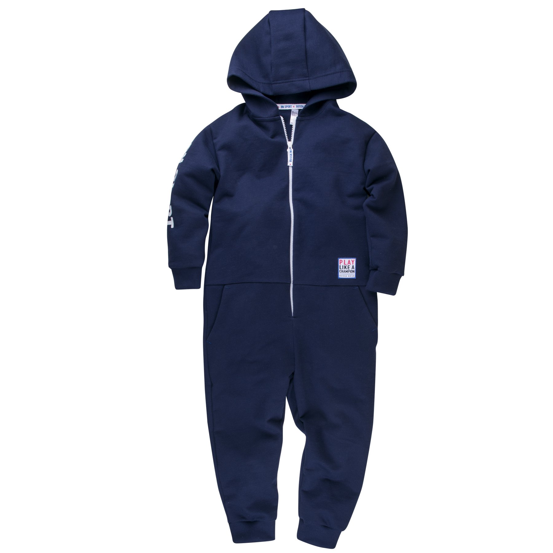 Jumpsuit with hoodie for boy BOSSA NOVA 510b-462c velvet drop shoulder hoodie with pocket