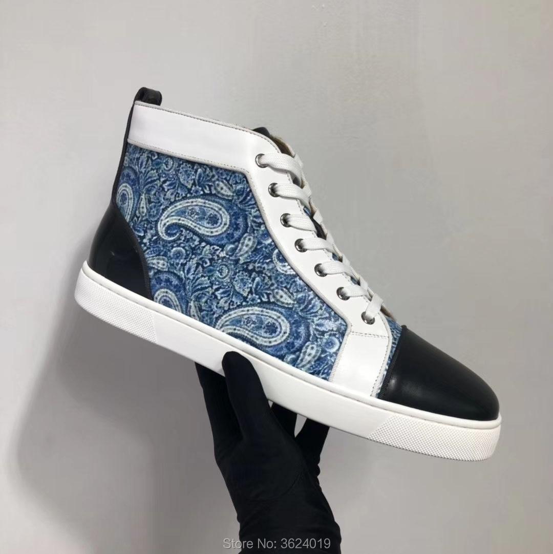 Azul Rojo Cuero Zapatos Zapatillas Hombre Alto 2018 Fondo Deporte Planos Casuales Graffiti Mocasines Remache Para Blanco De Calzado xXZZBqCzn