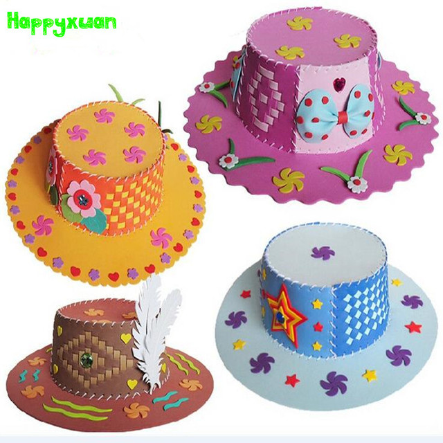 Happyxuan 4pcs Kids DIY Sun Hat Hand Crafts and Arts Kit EVA Sewing Kit Kindergarten Creative Toy Girls