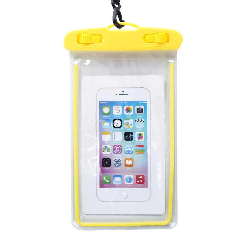 Funda de bolsa impermeable para iPhone luminosas bolsas de natación de Pvc funda de teléfono subacuática para xiaomi Seaside Vacation Universal todos los modelos