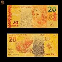 Nuevo Producto Brasil oro billete de 20 Reyals de billete dorado de aluminio de Artesanía de Metal papel falso dinero colección