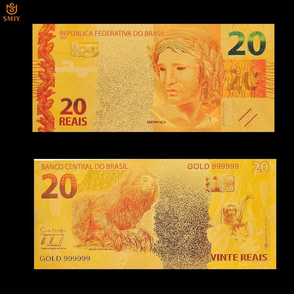 Nowy produkt brazylia złoty banknot 20 Reyals kolorowy banknot ze złotą folią moda metalowe rzemiosła fałszywe papierowe pieniądze kolekcja