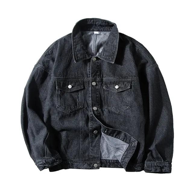 2019 Spring Men's Cowboy Clothes Loose Coats Streetwear Brand Outerwear Bomber Denim Jackets Black/blue Color Windbreaker M-XL