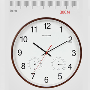Image 2 - Geekcook 12 Inch Classic Wall Clocks Silent Quartz Thermometer Hygrometer Humidity Non Ticking For Room Office drop shipping