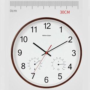 Image 2 - Geekcook 12 дюймов классические настенные часы Бесшумный кварцевый термометр гигрометр Влажность не тикает для комнаты офиса Прямая поставка