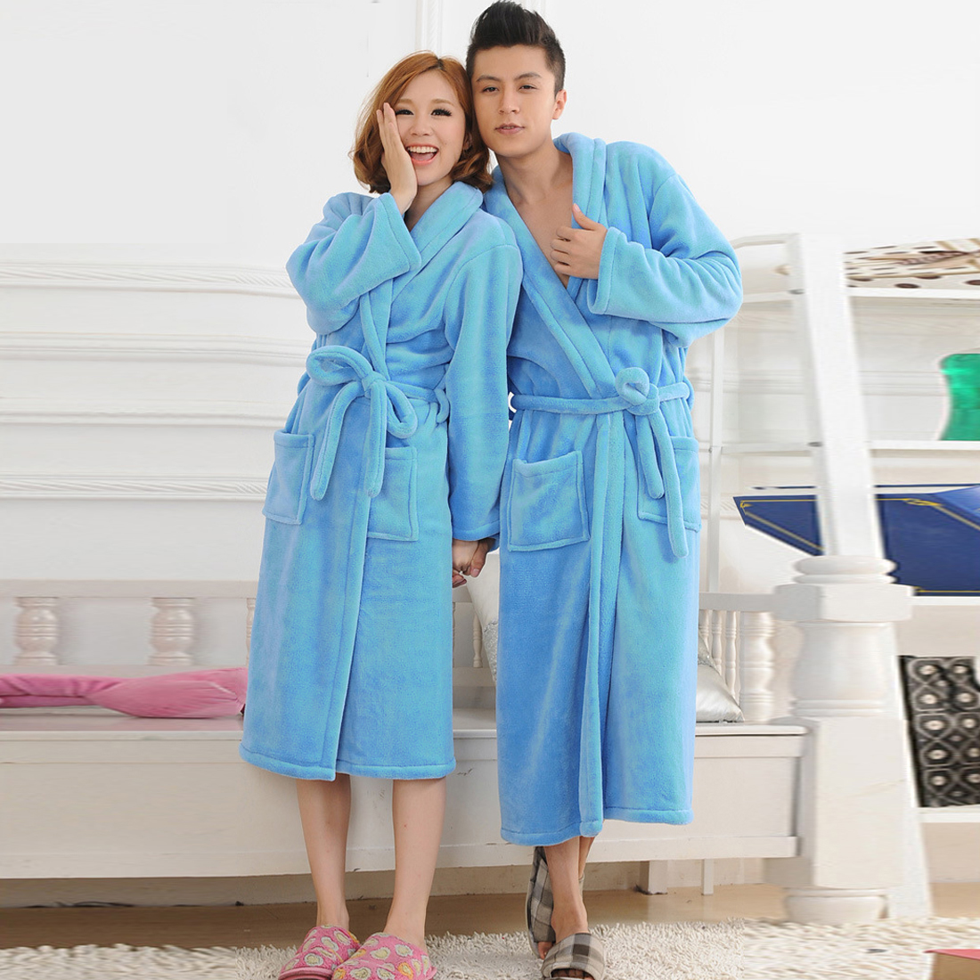 Women Men Flannel Bath Robe Sleepwear Autumn Winter Solid Seep Robe Couple Bathrobe Thick Warm Female Robe