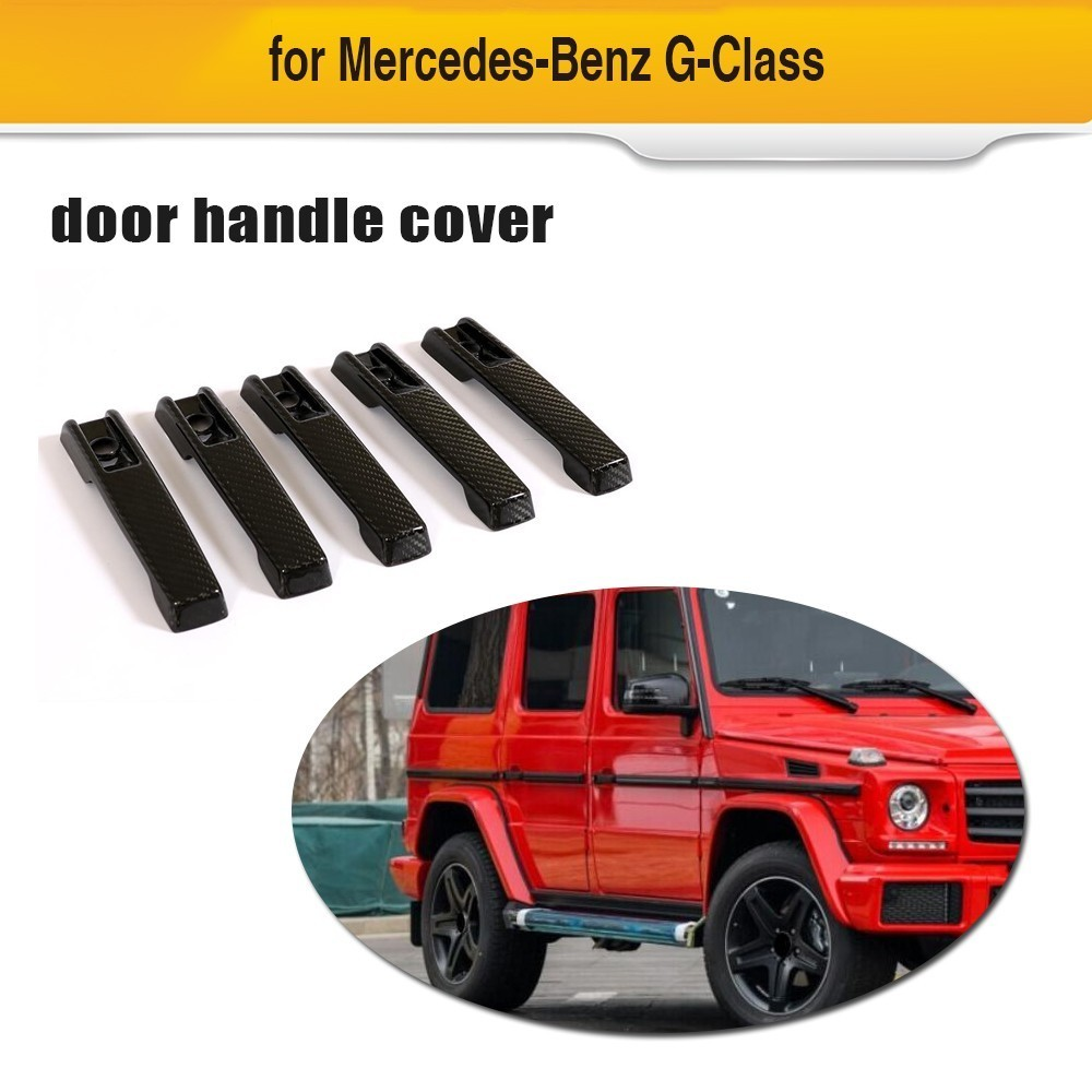 Car Door Handle Cover Trims For Mercedes-Benz G500 2004-2018 for <font><b>G55</b></font> <font><b>AMG</b></font> 2004-2010 4-Door Carbon Fiber Handle Cover Trims 4pcs image