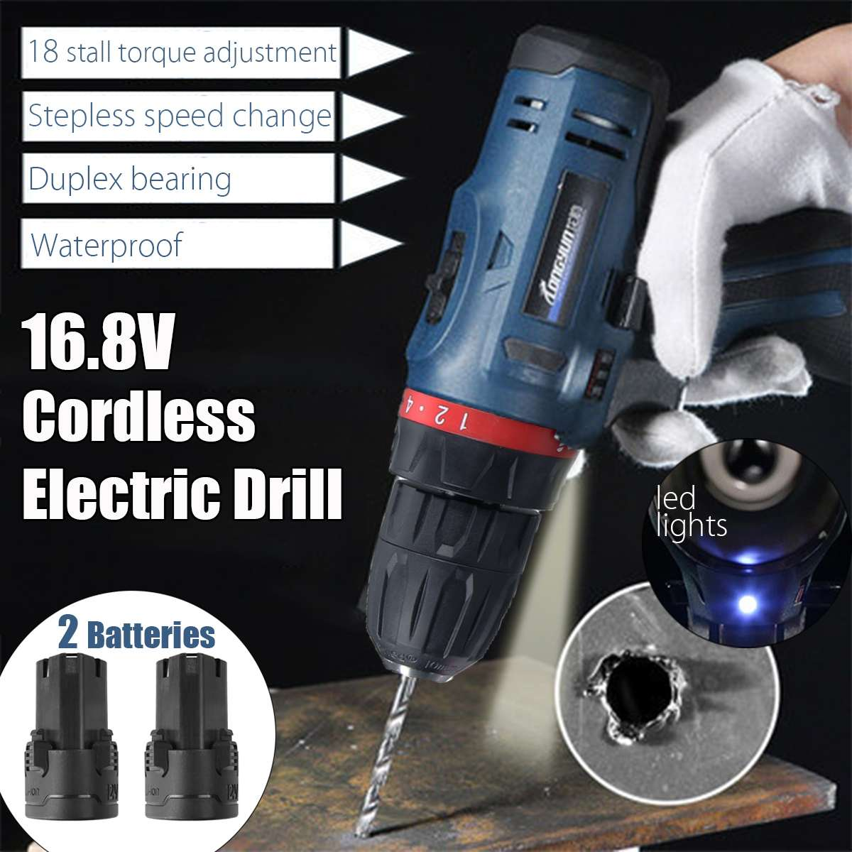16.8V Li-Ion 2/5 LED Electric Cordless Hammer Drill Driver Mini Impact Drill W/ 2 Batteries 2 Speed Power Tools16.8V Li-Ion 2/5 LED Electric Cordless Hammer Drill Driver Mini Impact Drill W/ 2 Batteries 2 Speed Power Tools