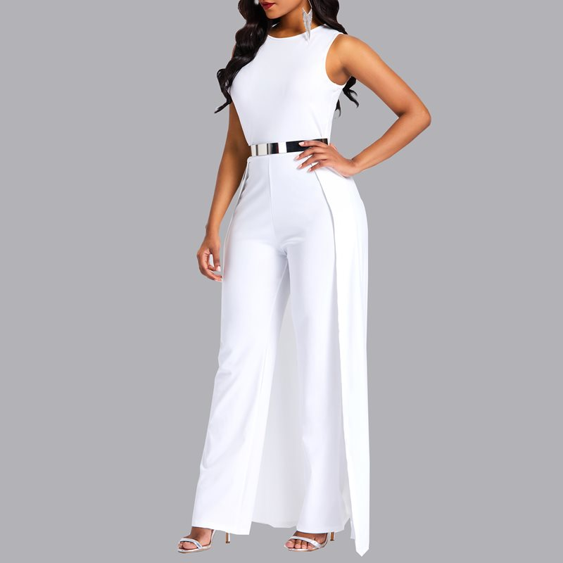 d7935c70faf0 Kinikiss Spring Women Jumpsuits Women Round Neck Sleeveless Summer Jumpsuit  2018 Office Work Wear Elegant Wide Leg Jumpsuit-in Jumpsuits from Women s  ...