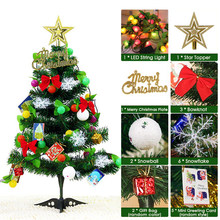 2019 DIY Tabletop Christmas Ornaments Artificial Christmas Tree with LED Light Strip Star Topper Gift Bags Party Decorative(China)