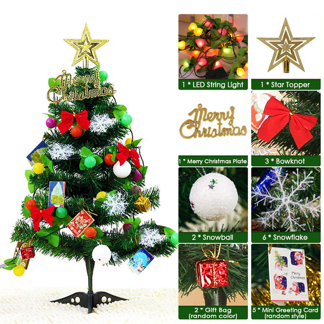Us 9 67 45 Off Aliexpress 2019 Diy Tabletop Christmas Ornaments Artificial Tree With Led Light Strip Star Topper Gift Bags Party
