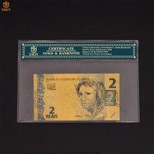Venda quente brasileira de notas de ouro 2 reyal banhado a ouro coleção de dinheiro de papel do mundo com quadro coa para presentes