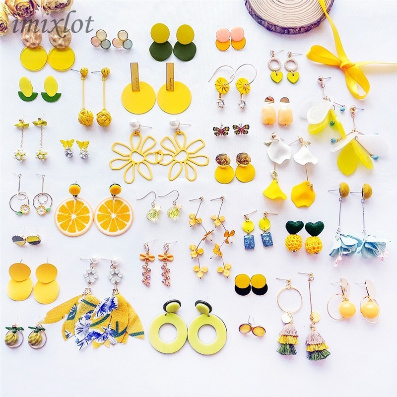 Korean Fashion Women Accessories Summer Sweet Lovely Yellow Candy Tassel Geometry Dangle Earrings for Girl Cute Jewelry