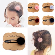 1PC / 2PCS Autumn And Winter Girls Hairpins Small cute Soft Fur Pompom Mini Ball Gripper Hairball Pom Hairclips Hair Accessories