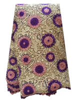 New Arrival Guipure Cord Lace Material High Quality Gold Pink Purple Embroidery Lace African Fabric with Beads