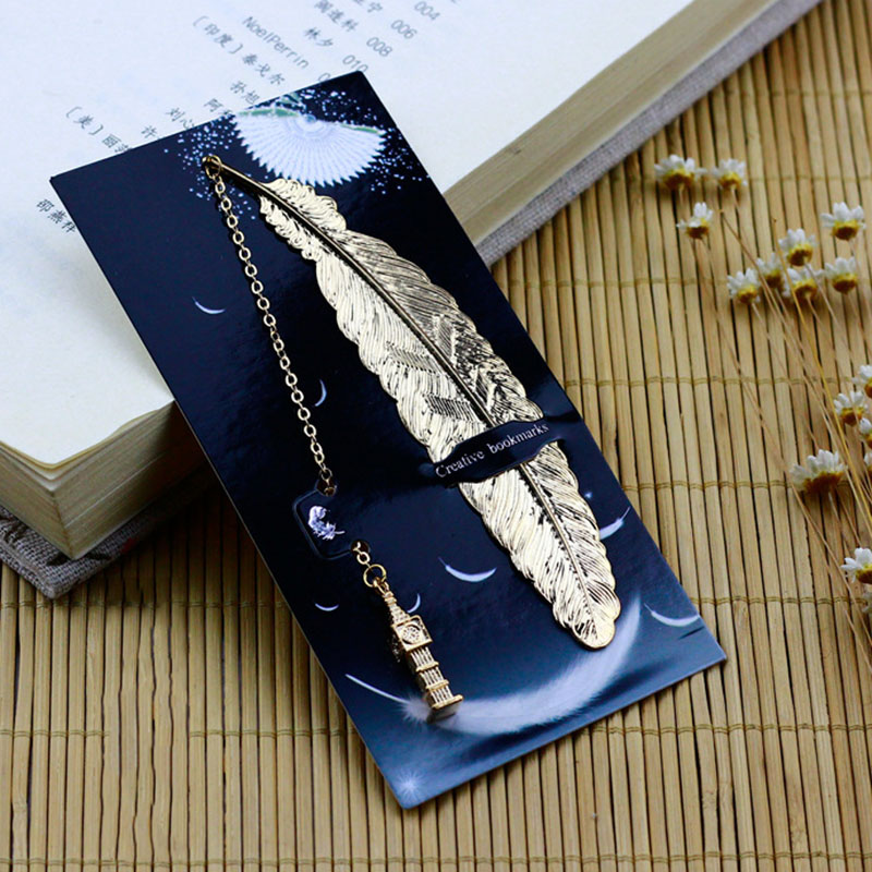 1PC Cute Feather Bookmarks Kawaii Cat Pendant Metal Book Marks For Kids Girls Gift School Office Supplies Novelty Stationery