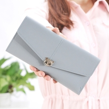 Womens Wallet Small Fox Head Korean Version Three Fold Double Color Material Fresh Fashion Buckle Card