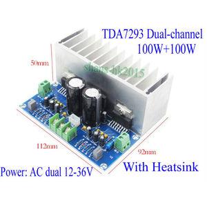 Image 5 - TDA7293 ses amplifikatörü Kurulu 100Wx2 Dijital Stereo güç amplifikatörü Kurulu Heatsink Çift AC12 32V