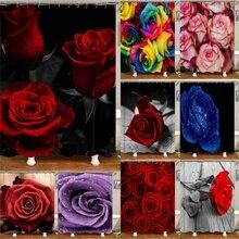 Водонепроницаемая занавеска для ванной комнаты 3D Красная роза и черные листья занавеска для ванной s полиэфирная ткань занавеска 180*180 см