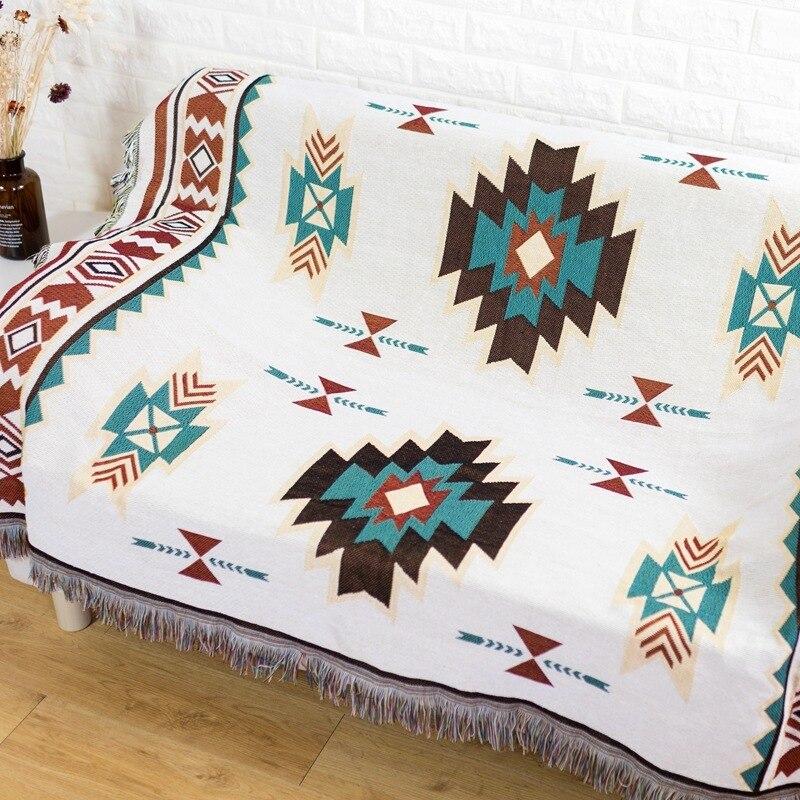 Fil teint géométrie motif décoratif canapé housse Portable voyage Plaid Vintage chambre canapé jeter couverture avec gland