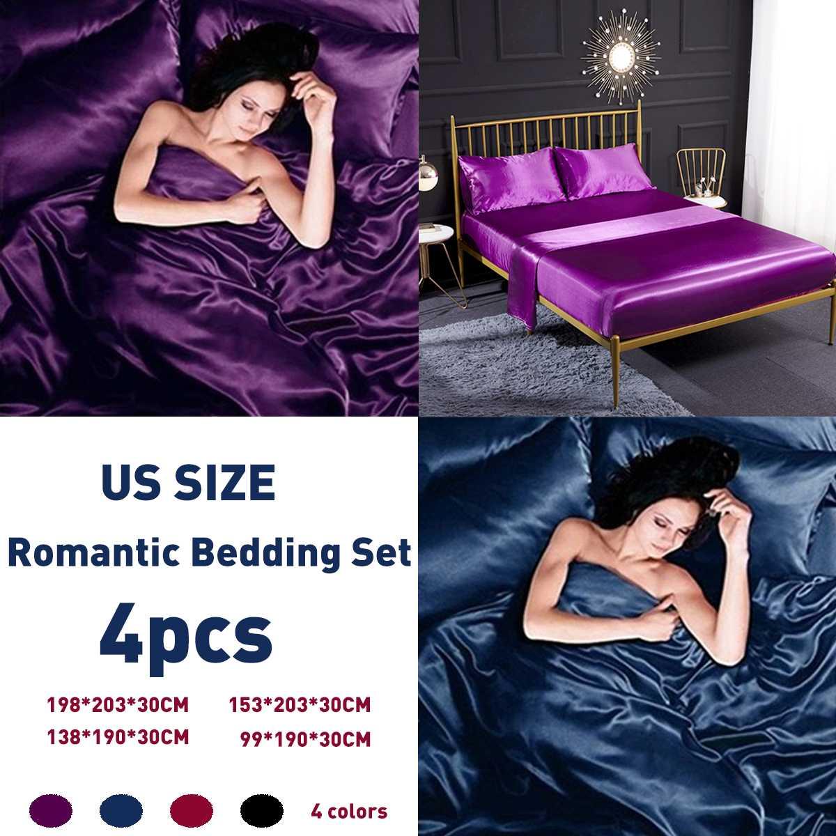 4Pcs/Set Romantic Teal Silk Bedding Set Comforter Sets
