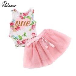 Adoráveis Meninas Princesa Floral Sem Mangas Bodysuit Romper Do Bebê Recém-nascido Infantil Tule Tutu Saia Vestido 2 Peças de Verão Roupas Da Moda