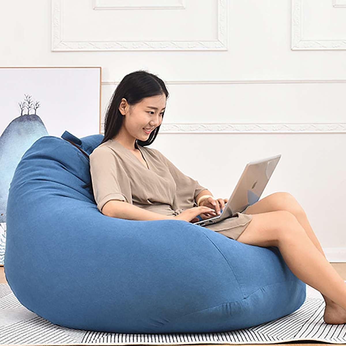 Pouf couleur unie chaise longue canapé coton lin pouf canapés imperméable à l'eau en peluche stockage jouet chaise couverture salon