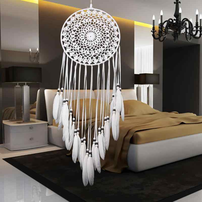 1pcs Handmade Lace Dream Catcher Windchimes with Indian Style Car Wall Hanging White Feather Dreamcatcher Home Decoration