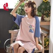 Summer Cotton Sleepwear Women Cartoon Nightgowns Short Sleeve Female Nightwear Plus Size Nightdress Sexy Home Dress