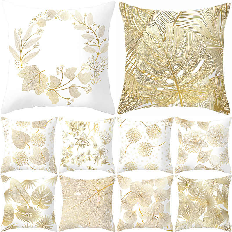 New Decorative Polyester 1PC Throw Pillows Leaves Soft Home Golden 45*45CM Flowers Pillow Case Cover